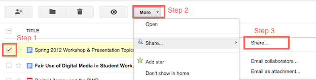 share menu in Google Docs