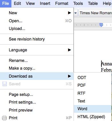 google doc format