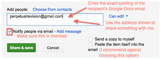 Screenshot of where to add email address to share file
