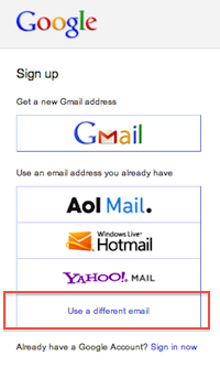 new google signup button