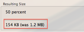 Preview resulting file size