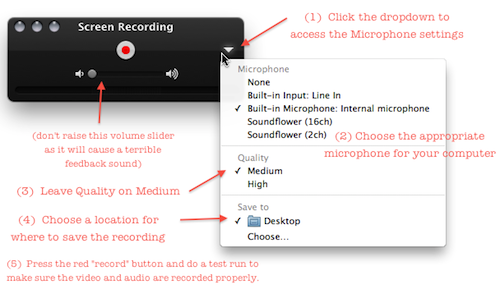 Quicktime screenrecord settings